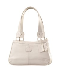 Genuine Leather Fashion Handbag eZeeBags YA818v1 - from the Maya Collection - White.
