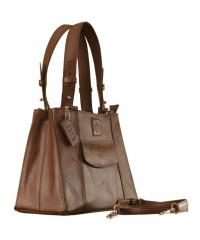 Dark, tall & handsome, Maya Collection YA824v1 by eZeeBags ladies leather handbag - stands tall in style & function - Brown.