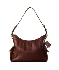 eZeeBags YA850v1 women's leather handbag. Large size, full width front, rear & 2 side pocket with adjustable shoulder strap - Burgundy.