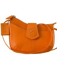 This curvy genuine leather sling bag is all about you & how you carry your style & confidence eZeeBags - YT846v1 - Orange.