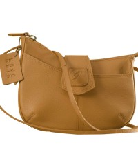 This curvy genuine leather sling bag is all about you & how you carry your style & confidence eZeeBags - YT846v1 - Tan.