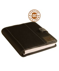",,the brown book"" - Genuine Leather Planner / Organiser MA-v1 Black-Desktop Size."