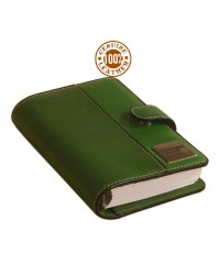 the brown book - Genuine Leather compact ring binder organizer, removable pages, MI Series - Green.