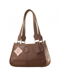 Genuine Leather Fashion Handbag eZeeBags YA818v1 - from the Maya Collection - Brown.