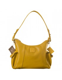 eZeeBags YA850v1 women's leather handbag. Large size, full width front, rear & 2 side pocket with adjustable shoulder strap - Yellow.